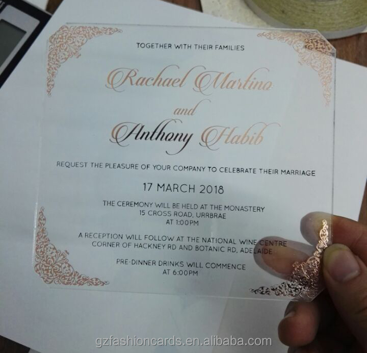 Gold Foil Printing Clear Acrylic Wedding Invitations Lined Envelope