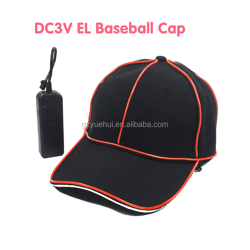 Personalized Led Strip Rope Tube American Talent Show Hat Bar Night Clubs Discos Neon Led EL Wire Baseball Cap with DC3V Drive