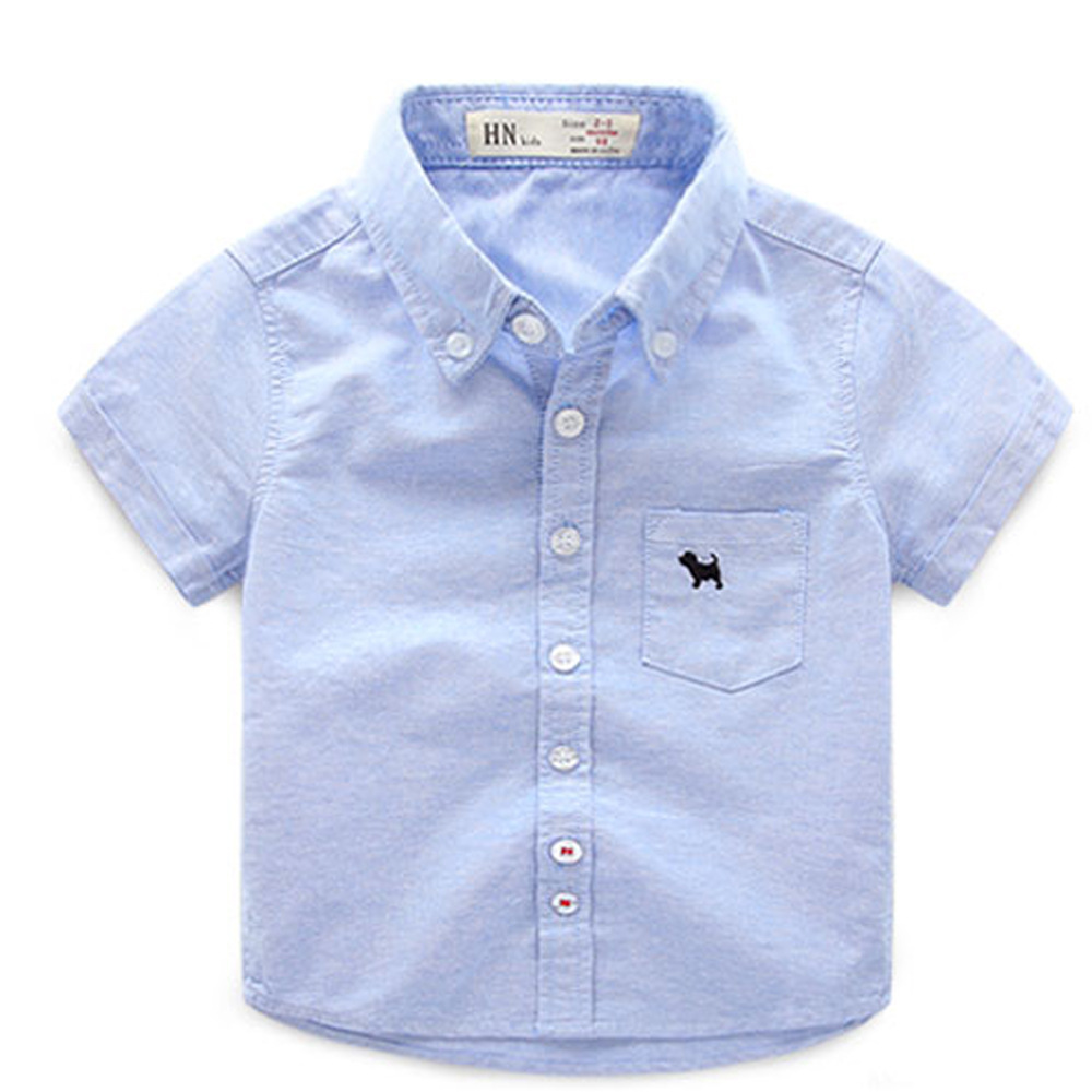 Baby Boys Lapel Solid Color Summer Children s Short sleeved Shirt 2016 New Children s Clothing