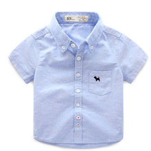 Baby Boys Lapel Solid Color Summer Children's Short-sleeved Shirt 2016 New Children's Clothing Kids Blouse Chemise Enfants