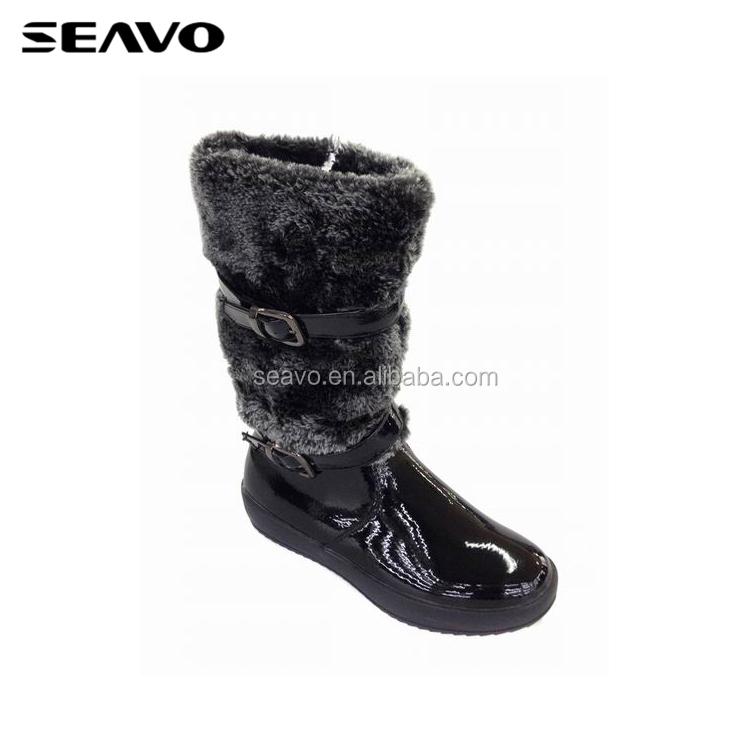 SEAVO AW18 cheap women bootie shoes patent PU footwear high heel boots