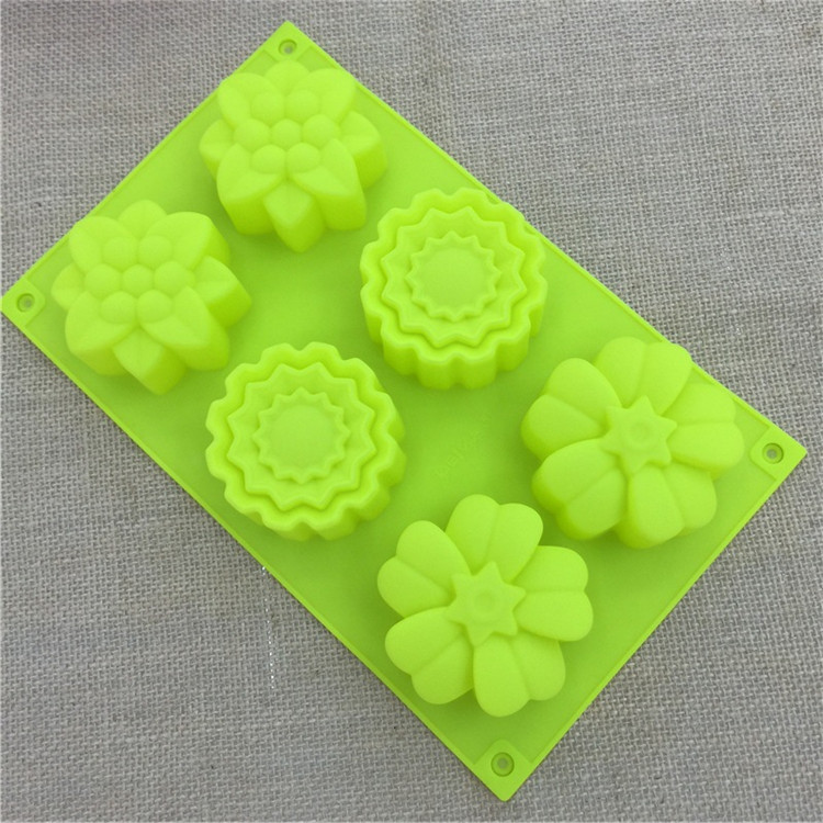 Silicone cake mold handmade soap DIY cake mold 6 even three different kinds of flower baking mold