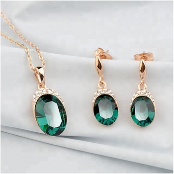 High quality green crystal diamond inlay necklace and earring jewelry set  for women wedding gold jewellery 7fd8d0516238