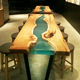 Solid wood table top live edge slab table suar wood table