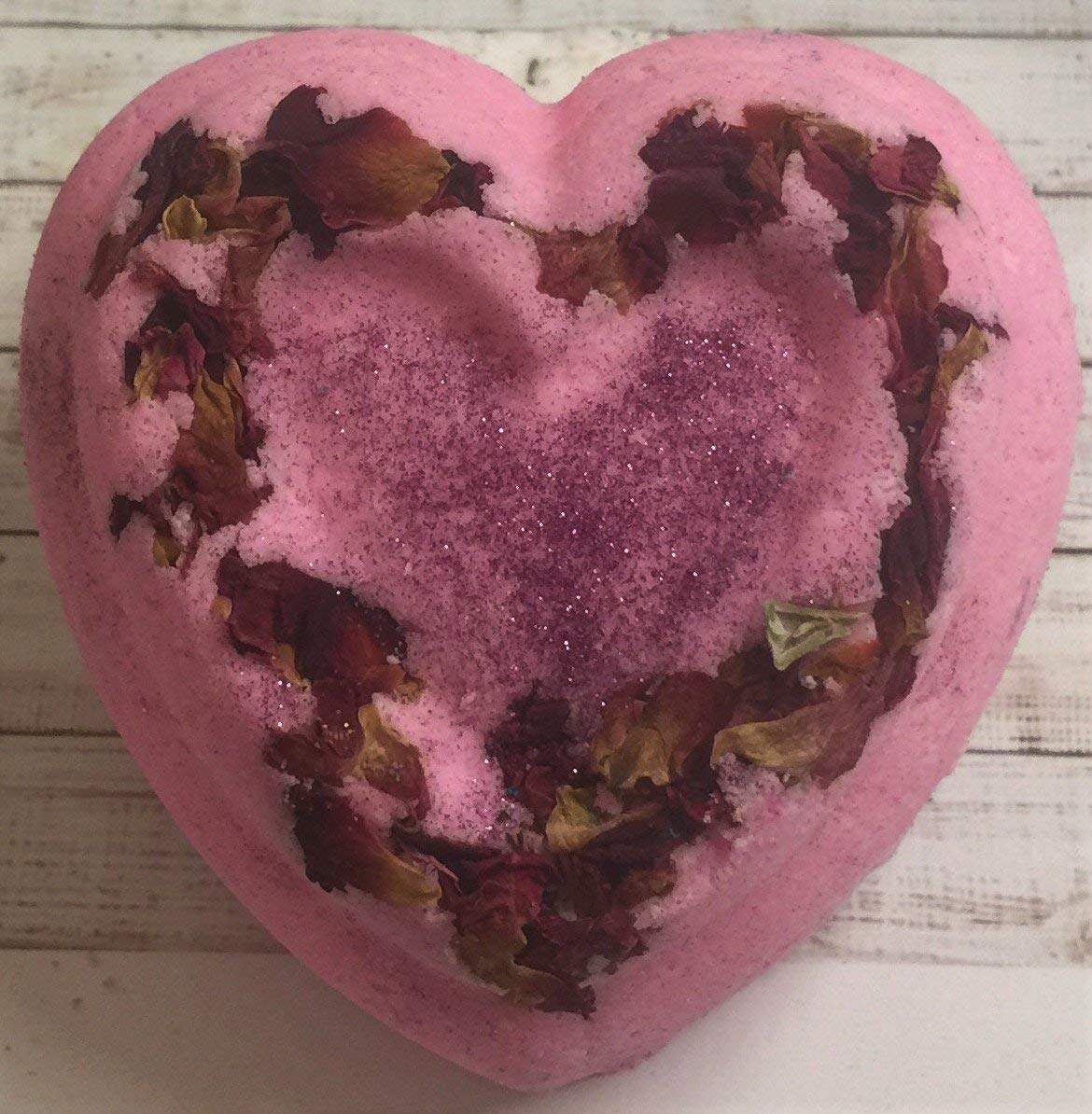 Beauty Heart Pink Bath Bomb- Foamy- Fizzy- Organic Almond Oil-Jojoba oil-Goat Milk- Beautiful -Gift-Rose Petals- Love- 5oz-
