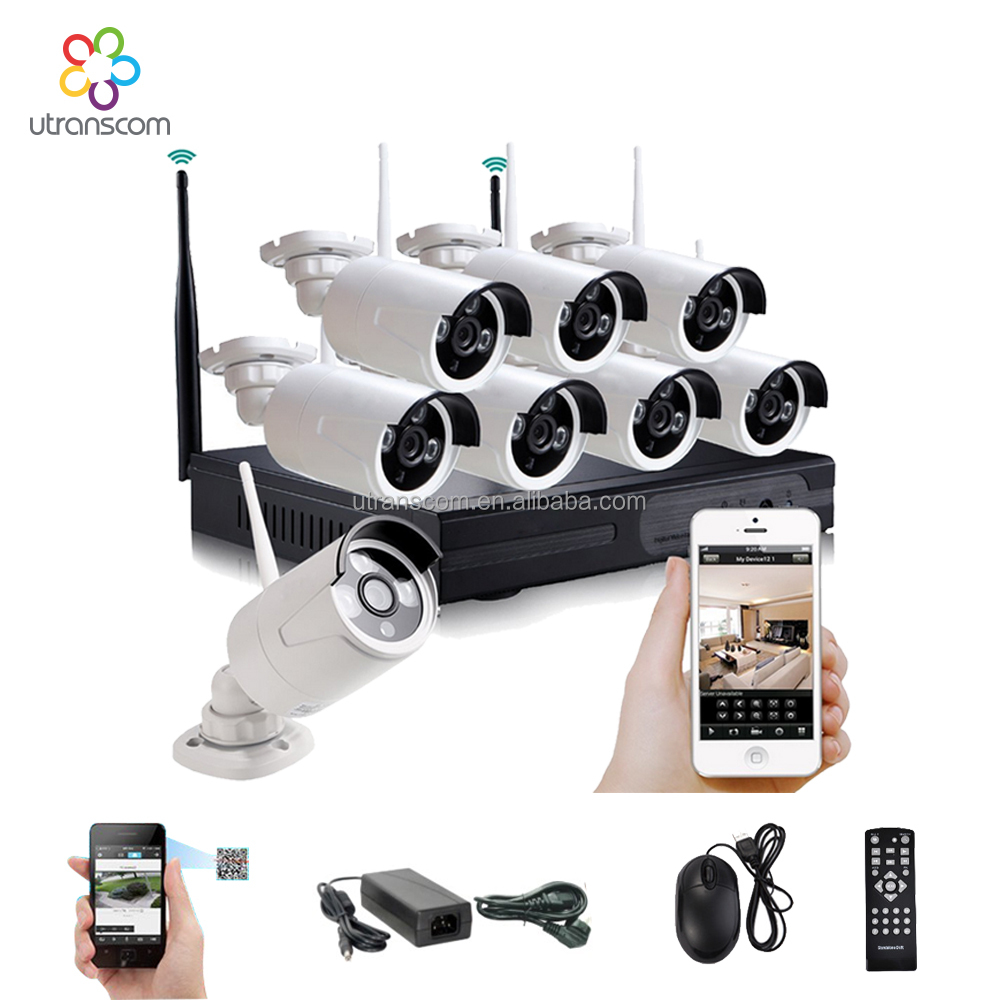 Utranscom 8CH CCTV System Full HD Wireless NVR 8pcs 1080P Waterproof IP WIFI Camera Home Security Safety System Kit 8channel
