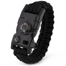 Hot Wholesale Survival Tactical Whistle Compass Fire Starter 550 Paracord Bracelet with Flint