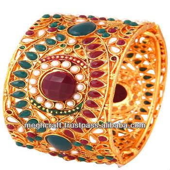 Indian Traditional Kundan Polki Bangle Whole Fancy Designer Bangles Bracelets Kada Las