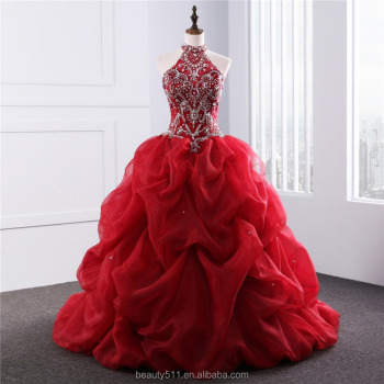 2018 Dramatic Quinceanera gowns Neck line Beaded Appliques Red Organza quinceanera dress ED025201