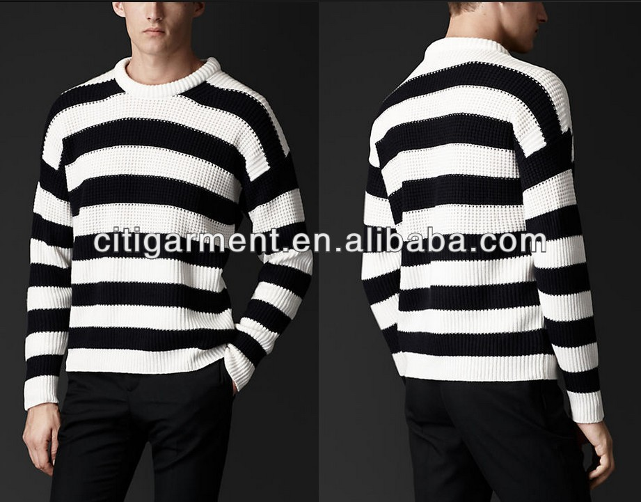 Men's Striped Cashmere Cotton Sweater
