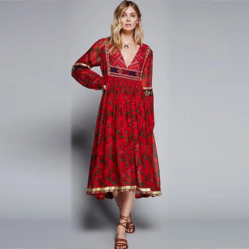b2af697156 Bohemian Hippie Rose Printed Maxi Dresses - Buy Red Dresses For ...