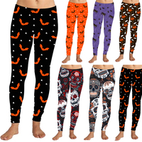 Latest Design High Quality 6 Color Halloween Print Brushed Super Soft Leggings