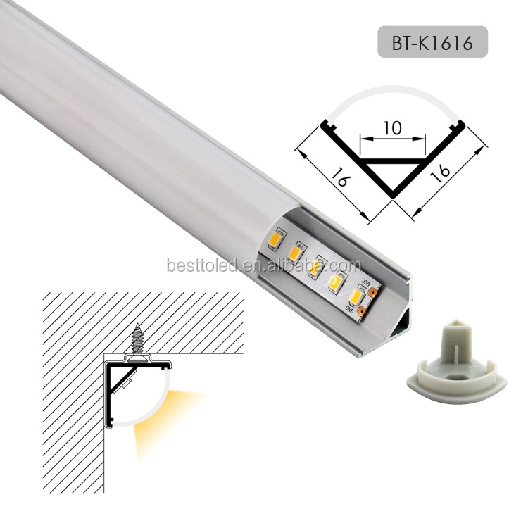 China top manufacturers supply high quality V shape W16*H16mm corner aluminium led light bar profile for kitchen cabinet