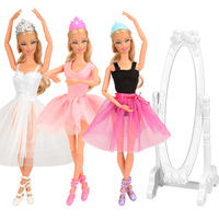 Fashion cheap Handmade 10 Items /lot =3 Ballet tutu dress + 3 Dolls Shoes + 3 Crowns + 1 Mirror For Barbie 11.5-12 inch doll