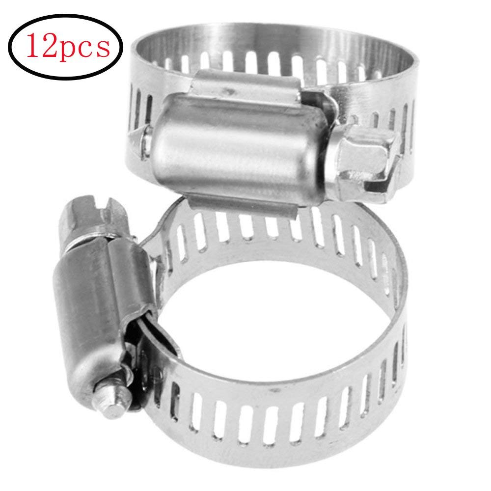 uxcell 9-16mm Range Stainless Steel Worm Gear Fuel Line Hose Clamps 5 Pcs