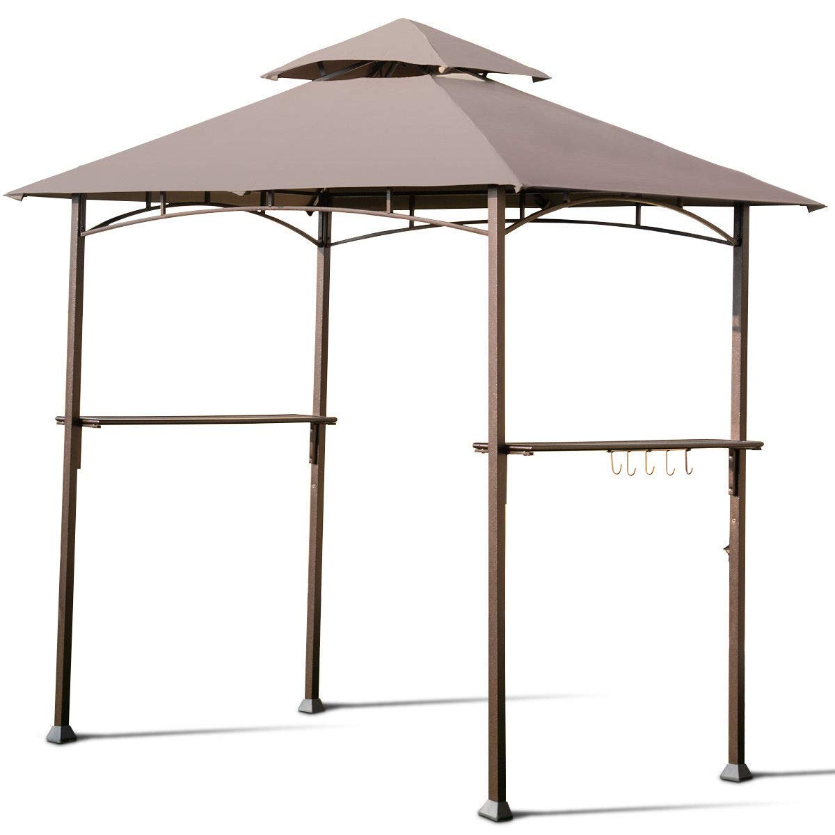 FDInspiration Khaki BBQ Grill Shelter Gazebo Barbecue Canopy Tent 2-Tier Top Cover w/Built-in Bottle Opener with Ebook