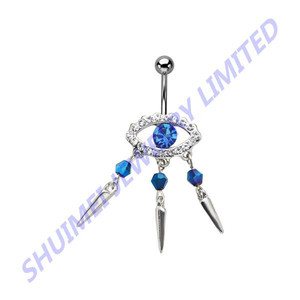 Stainless Steel Gems Navel Belly Button Ring With Blue Cz Spiked Evil Eye Dangle Charm Barbell Piercing Jewelry
