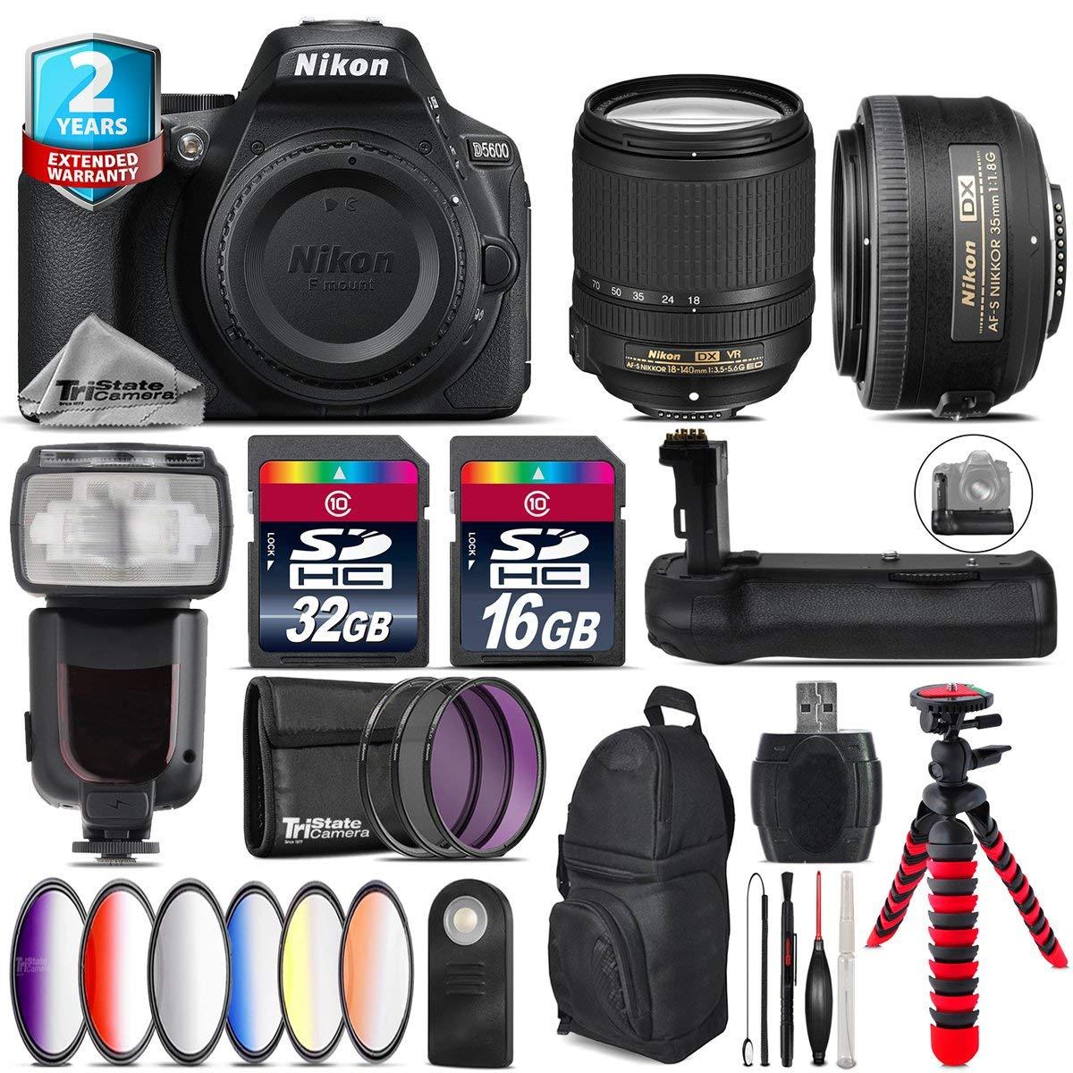 Holiday Saving Bundle for D5600 DSLR Camera + 18-140mm VR Lens + 35mm 1.8G DX Lens + Flash with LCD Display + Battery Grip + 6PC Graduated Color Filter + 2yr Warranty - International Version