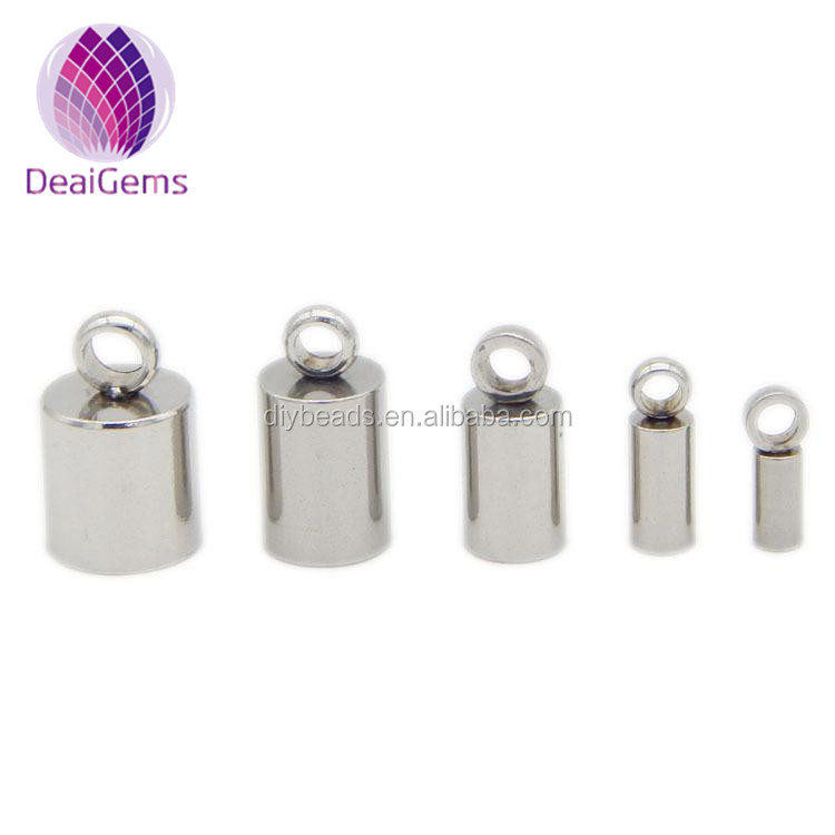 stainless steel leather cord end caps clasp for bracelet 3mm