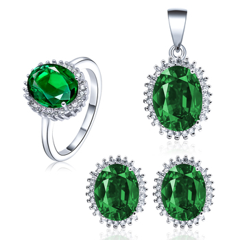 POLIVA Cheap China Wholesale Jewellery Indian Bridal Wedding 925 Sterling Silver Green Gemstone Emerald Jewelry Set