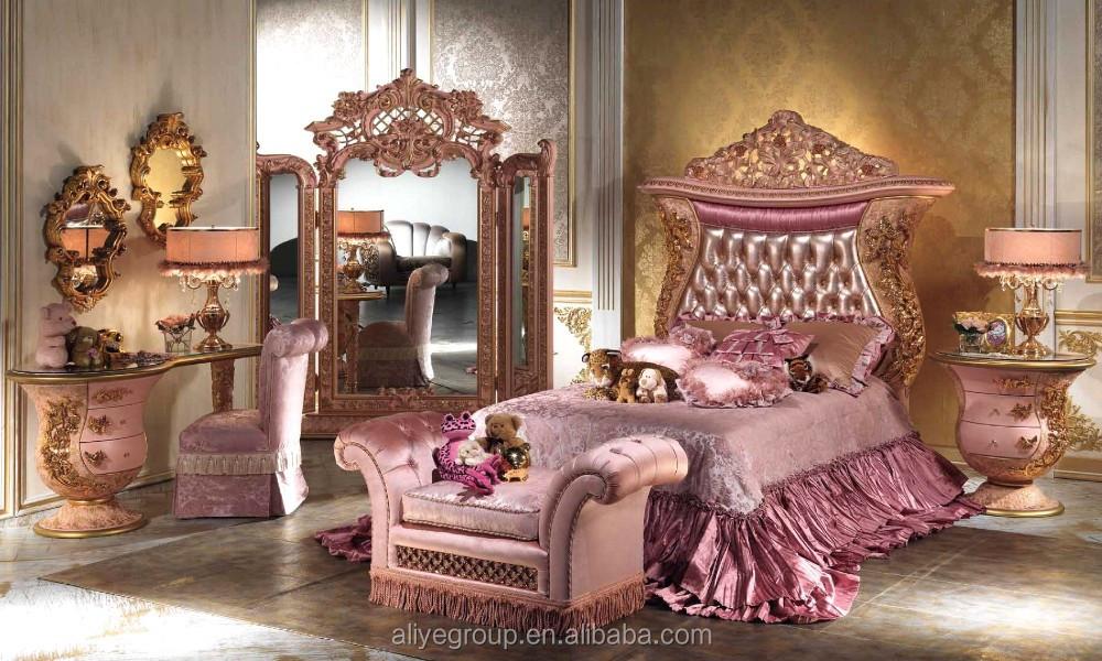 Luxe roze kleur met goud kinderen meisje slaapkamer meubels goud