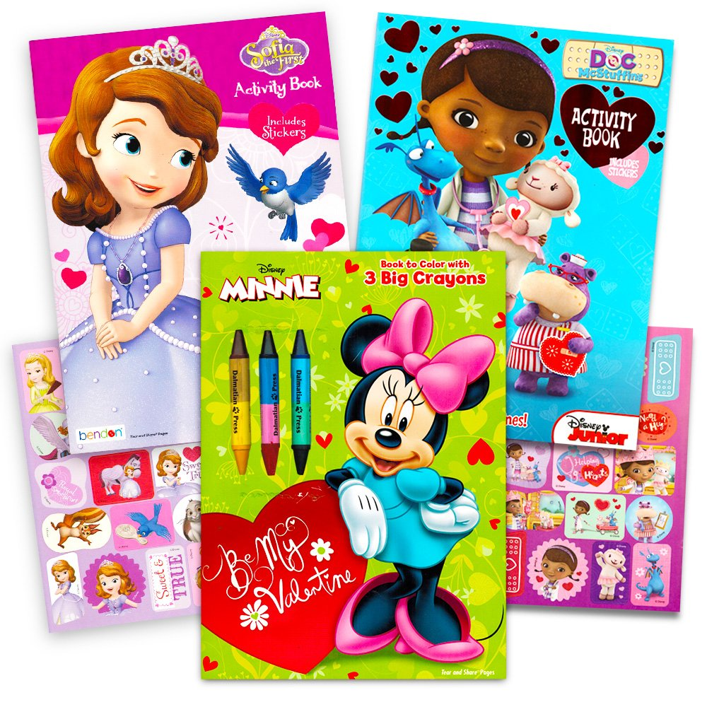Disney Valentines Day Coloring Books Super Set with Stickers (3 Books Featuring Minnie Mouse, Doc McStuffins and More!)