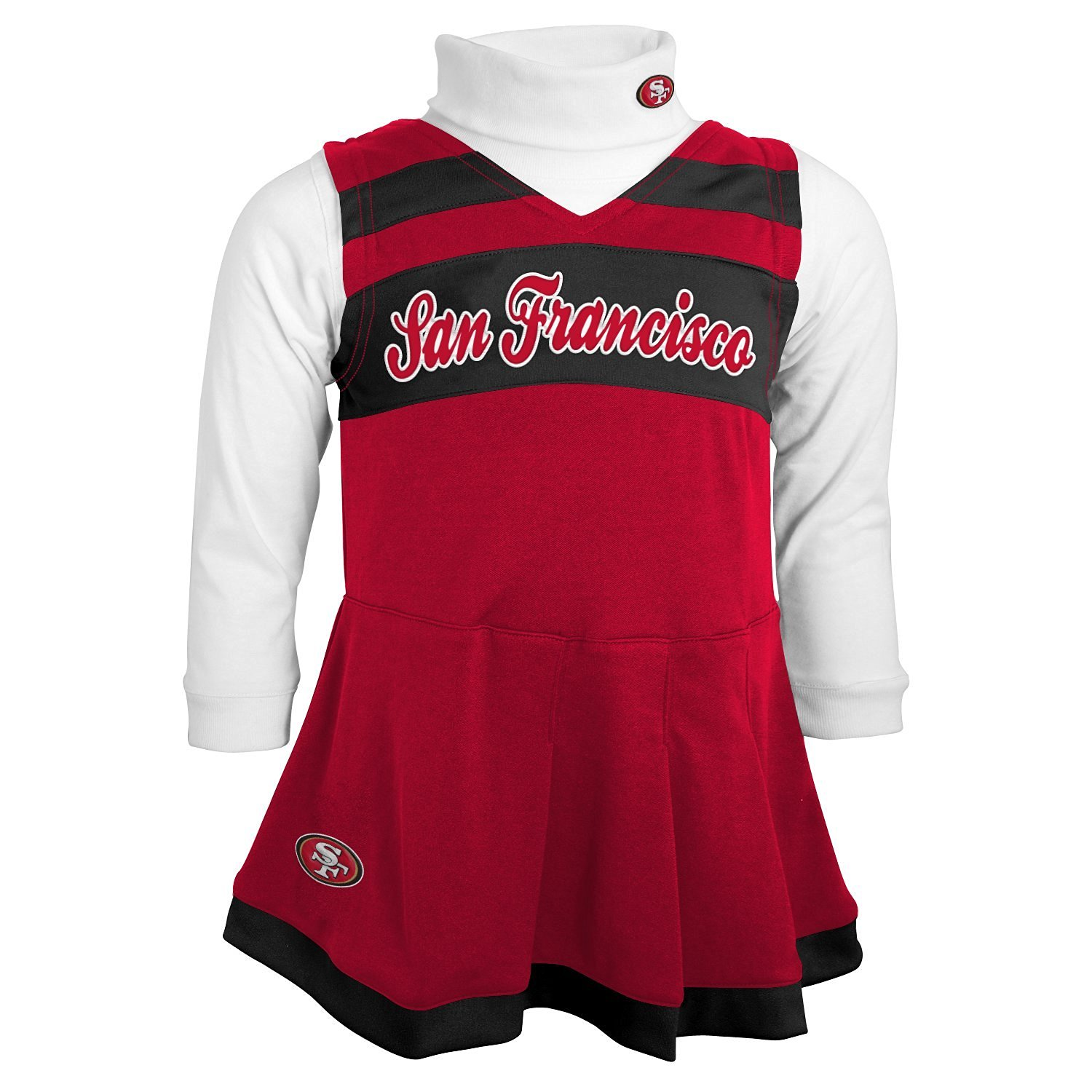 4f59cf1ce7c Get Quotations · NFL San Francisco 49ers Girls Cheer Jumper Dress with  Turtleneck Set