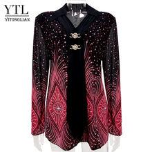 YTL женская рубашка с отложным воротником размера плюс, блузки с расклешенными рукавами и принтом, женская зимняя Винтажная брошь со стразам...(Китай)
