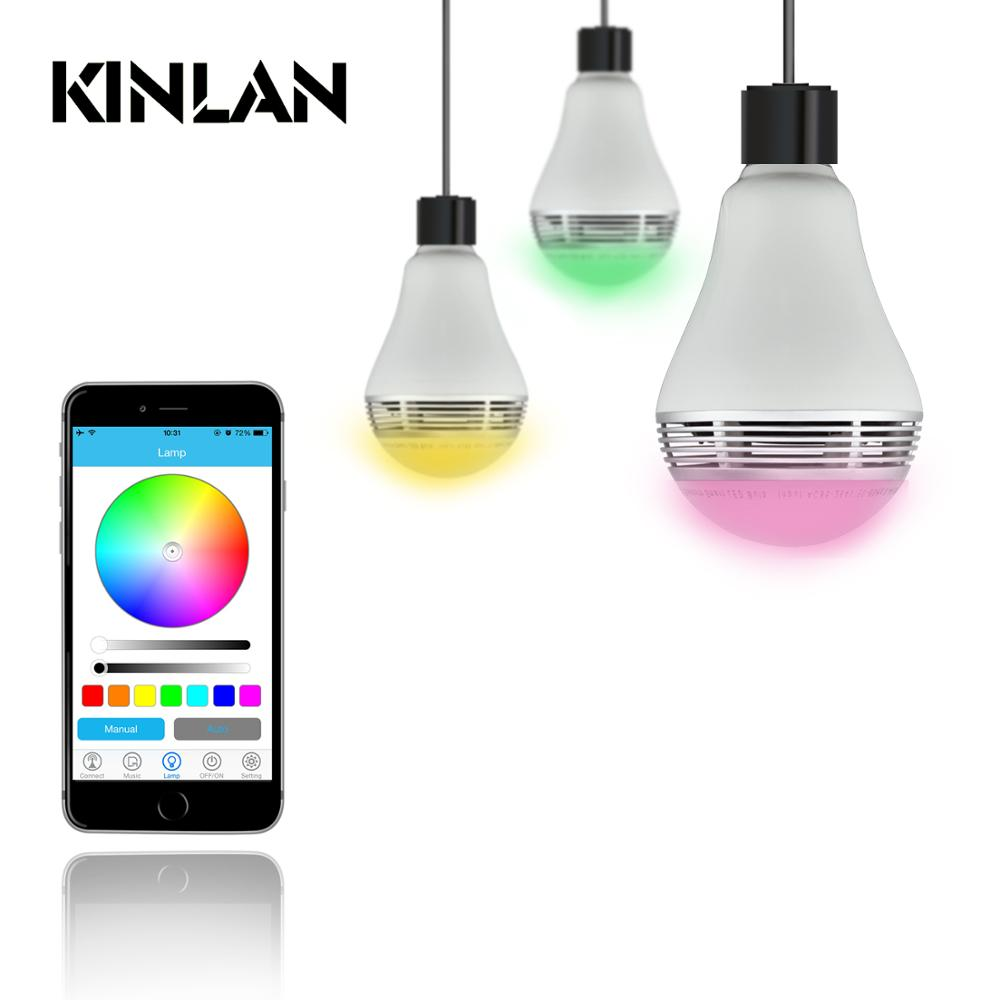 Kinlan Colorful Bluetooth speaker LED Bulb Light music wireless player with free APP control music lamp for home thether