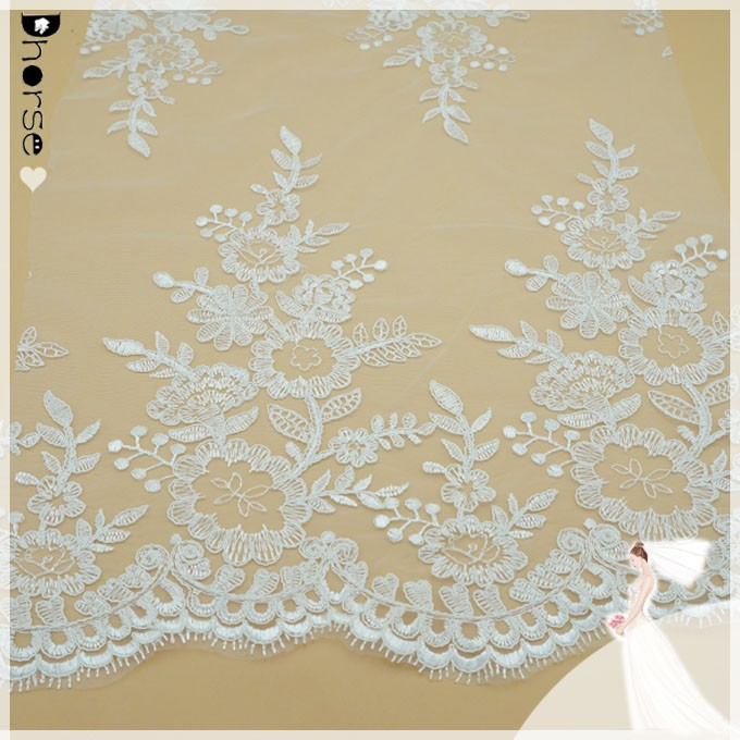 2015 Alencon Lace Trim with Embroidery flower for Bridals, Wedding Veils , Garters, DIY Wedding DH-BF426