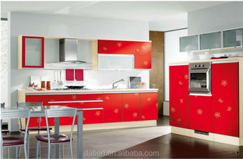 Red Color Modular Kitchen Cabinets