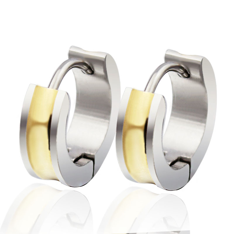 Whole High Quality Charm Gold Plated Silver Anium Stainless Steel Hoop Earring Stud Earrings For Men Women