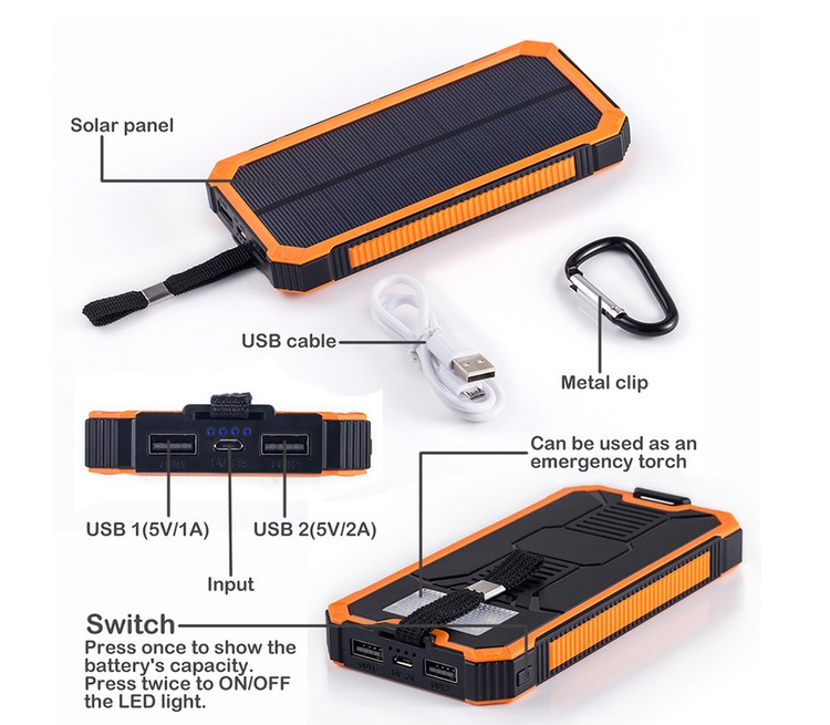 High Capacity 12000mah Solar Power Bank Case With Hook From China ...