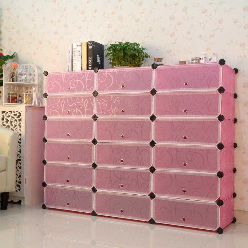 Beautifully Designed Plastic Magic Clear Shoe Interlocking Storage Cubes  With Doors