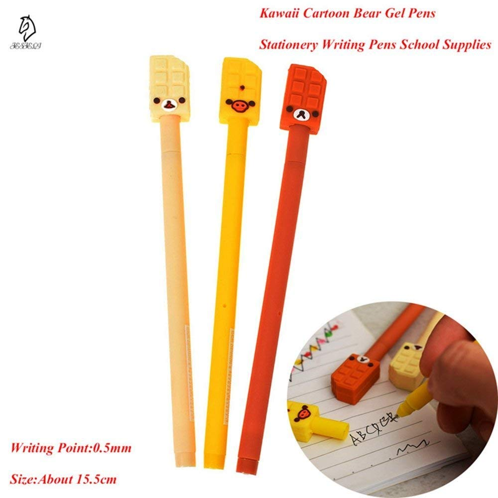 GMYANYZB Ballpoint pen 3Pcs/Set Kawaii Cartoon Animal Gel Pens 0.5mm Black Ink signing Pen office supplies stationery Gift