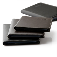 Wholesale custom black leather embossed bifold mens wallet with flip up window