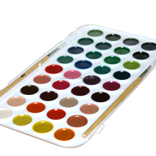 36 color washable full pan semi-dry watercolor cakes travel box set