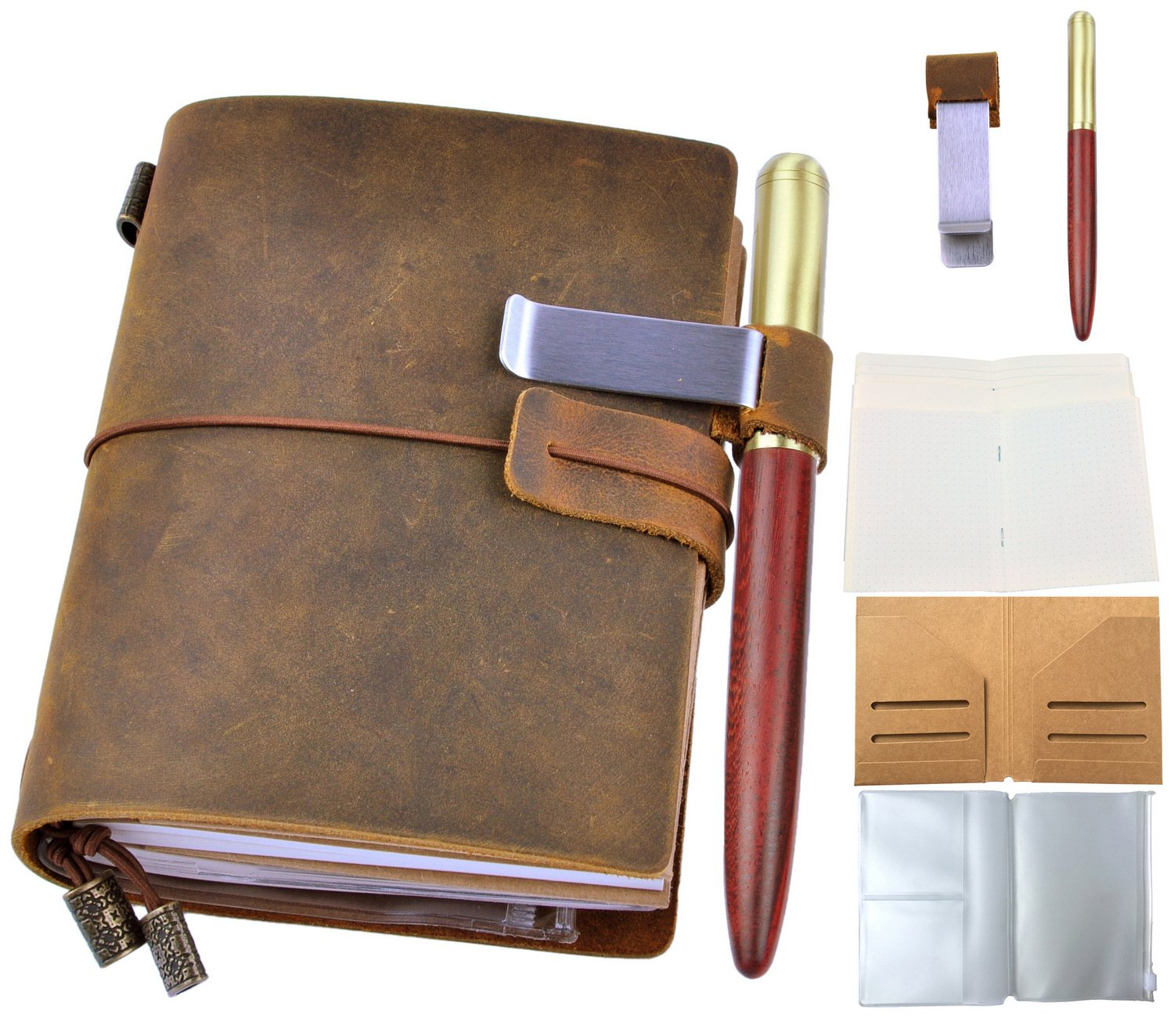 """Leather Journal Writing Notebook with Wood Pen - Leafpaq Vintage Refillable Handmade Genuine Leather Travel Diary for Men & Women, Bound Daily Notepad Gift for Art Sketchbook to Write in, 5.3 x 4.1"""""""
