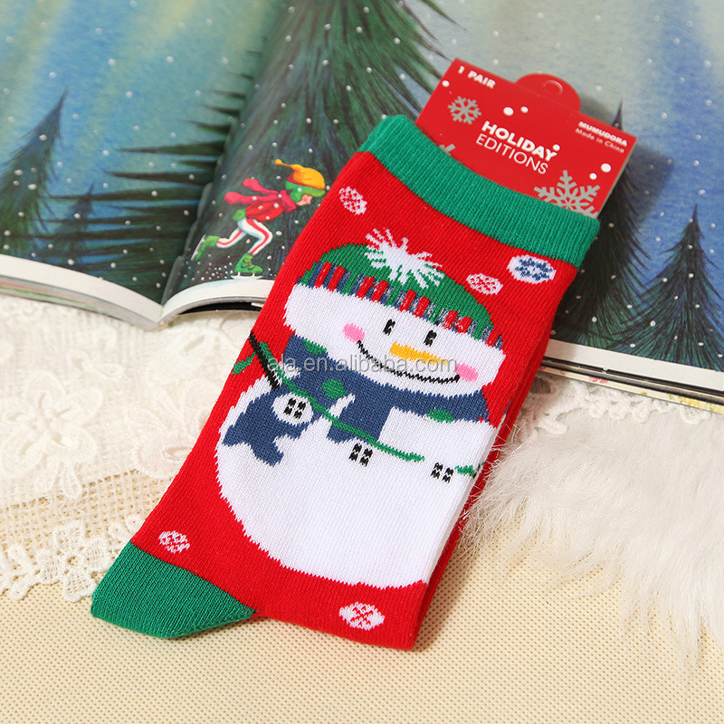 Knitted cotton OEM soft nice snow man Christmas socks for afult wear