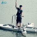 Hot sale no inflatable 3.3 meters PE fishing kayak with motor