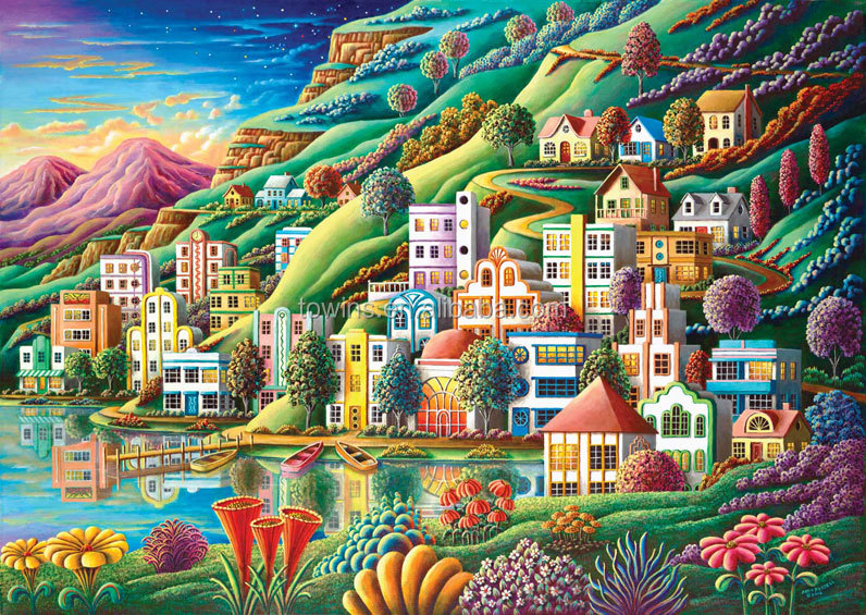 1000 Piece hidden harbor wood Jigsaw paper Puzzle game toys toys math puzzles brain teasers challenging pieces