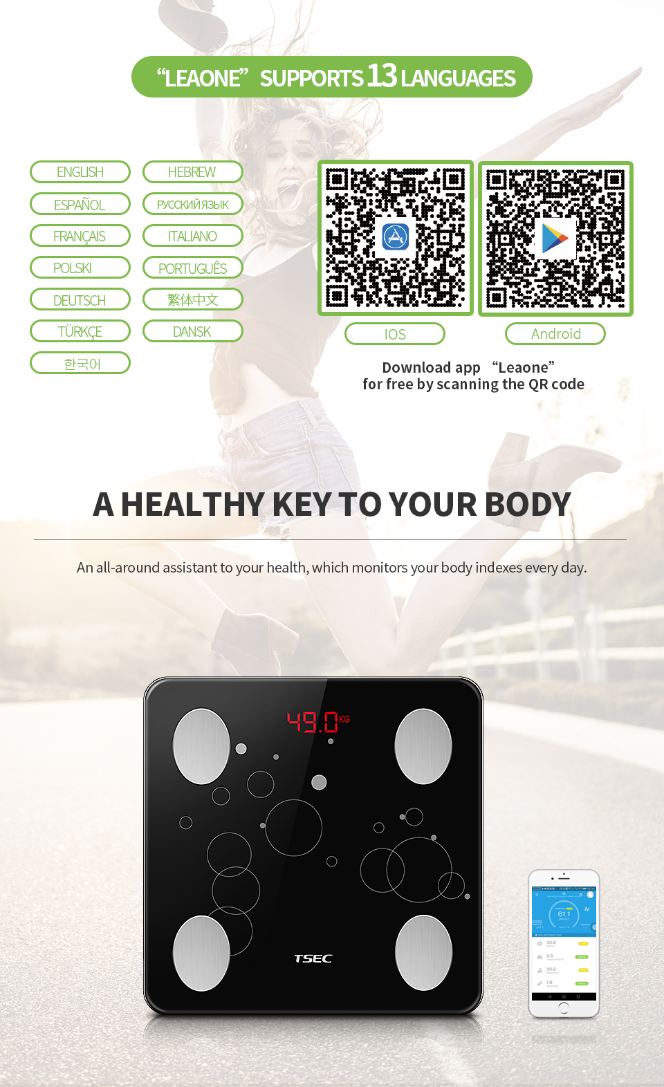 TS-BF8031 180KG/0.1KG Customized LED APP Connectivity BIA Technology Bluetooth Body Analysis Scale Body Fat Scale