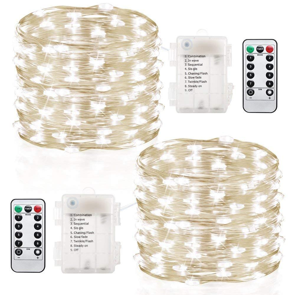 Led strip lights 2 sets 100  led christmas string lights for decoration