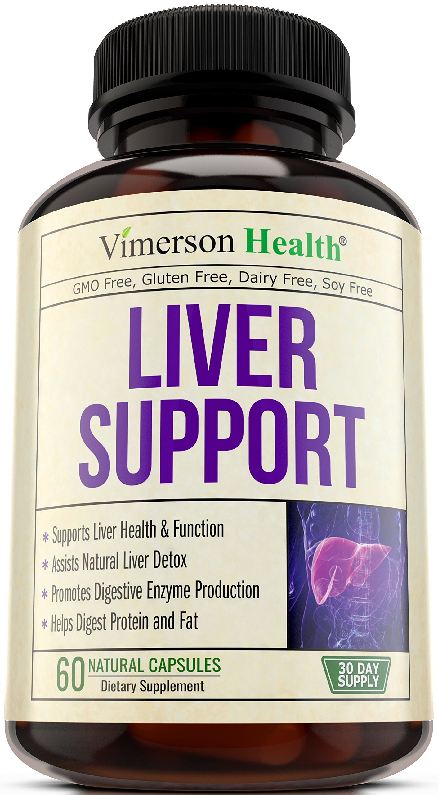 Liver Cleanse & Detox Support Supplement - Natural Non-Gmo Herbal Blend with Milk Thistle + Artichoke Extract + Turmeric + Ginger + Beet Root + Alfalfa + Zinc + Choline + Grape Seed + Celery Seed