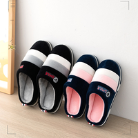 Winter fashion lovely stripe lovers cotton slippers women indoor warm and non-slip hairy slippers man