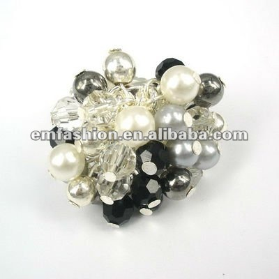 Fashion pearls CCB stretch cluster finger ring