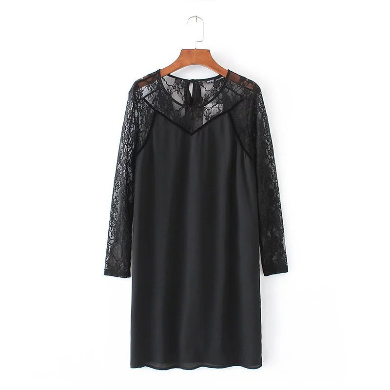 Fashion women o neck long sleeve chiffon lace patchwork black color wholesale dress in good quality
