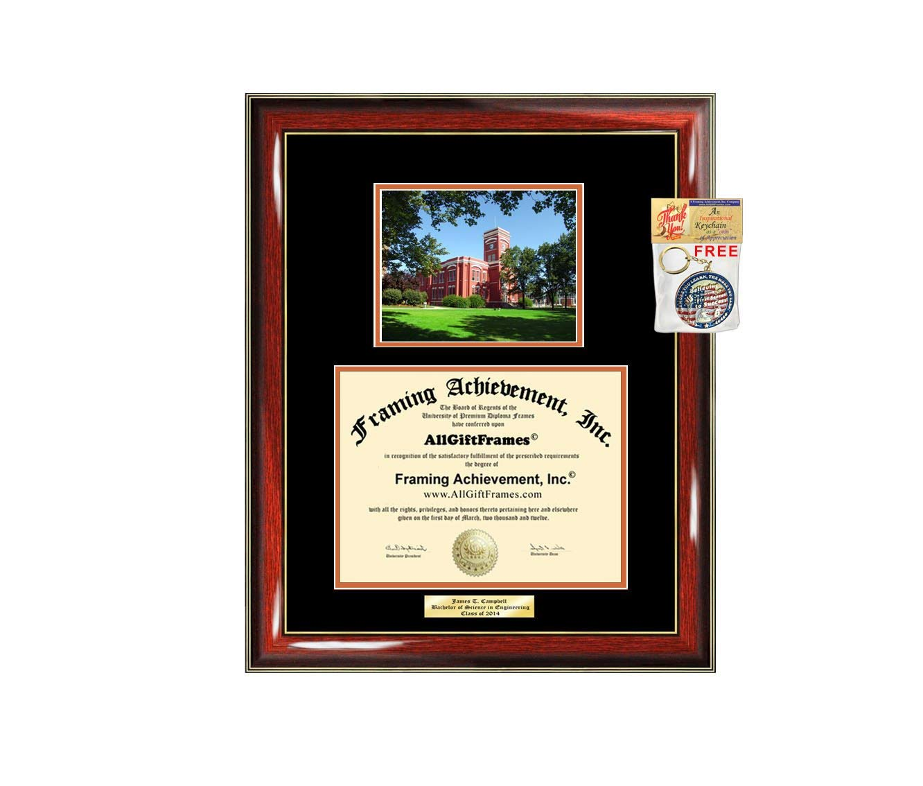 Diploma Frame Ohio Northern University ONU Graduation Gift Idea Engraved Picture Frames Engraving Degree Cheap Graduate Bachelor Masters MBA PHD Doctorate School