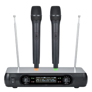 High Sensitivity Dynamic VHF Wireless 2 Channel Plastic Microphone