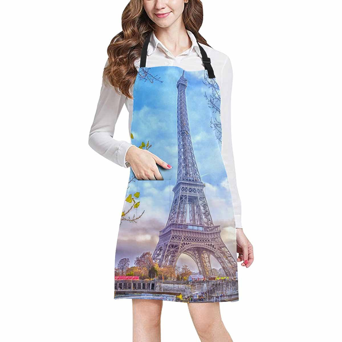 InterestPrint Romantic Eiffel Tower in Paris France Home Kitchen Apron for Women Men with Pockets, Unisex Adjustable Bib Apron for Cooking Baking Gardening, Large Size